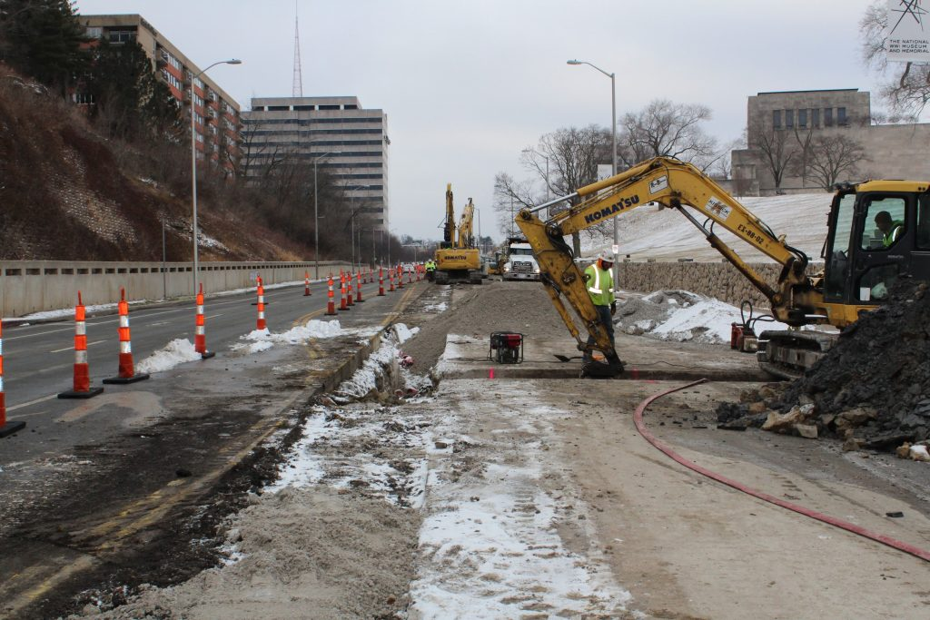 Construction activities near Pershing Rd